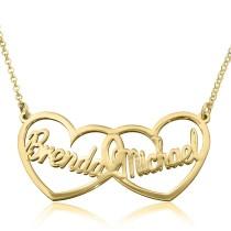 שרשרת לבבות לאישה עם שמות בעיצוב אישי מזהב צהוב \ לבן 14 קראט - דגם 13060