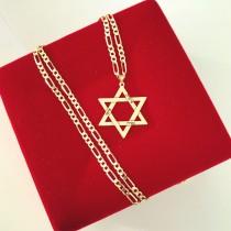 תליון משפחה בצורת מגן דוד עם חריטת שמות כולל שרשרת גורמט בזהב אמיתי 14 קראט
