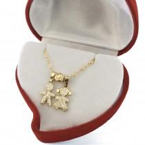 תליוני ילדים ושרשרת דגם 8801 זהב אמיתי צהוב או לבן 14 קראט בשיבוץ זירקונים או יהלומים אמיתיים
